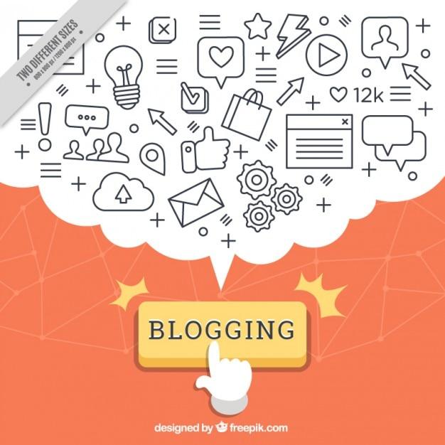 Fondo de blog con globo de diálogo repleto de iconos Vector Gratis