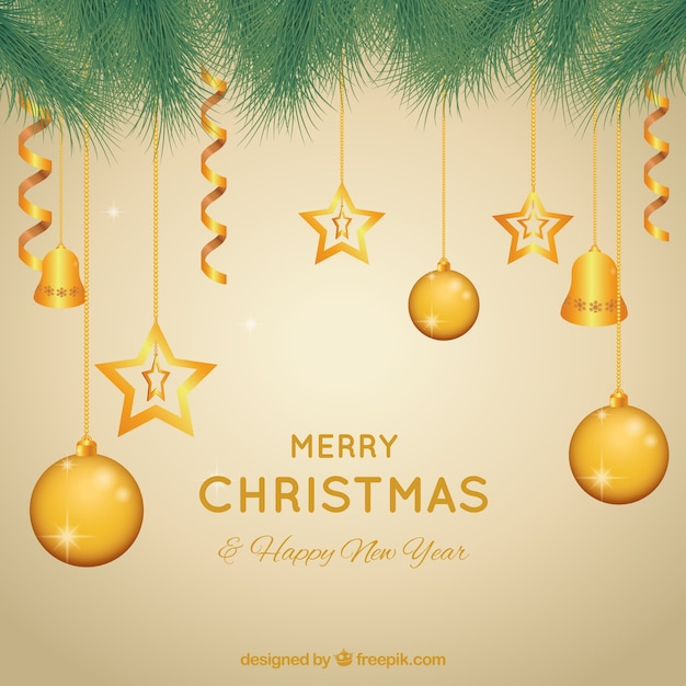 Fondo de bolas de navidad doradas descargar vectores gratis - Bolas de navidad doradas ...