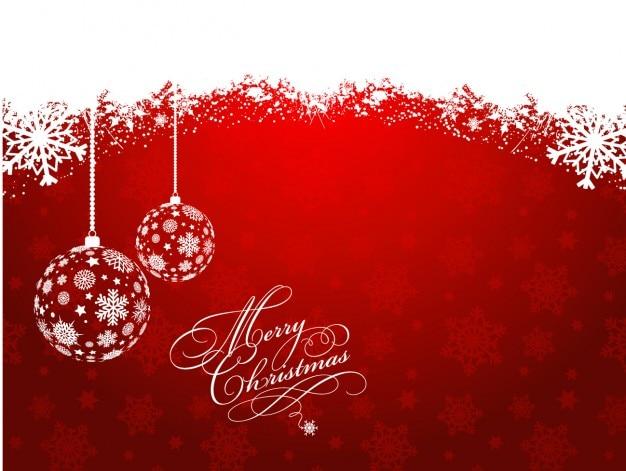 Fondo de bolas de navidad rojas nevado descargar - Bolas de navidad rojas ...
