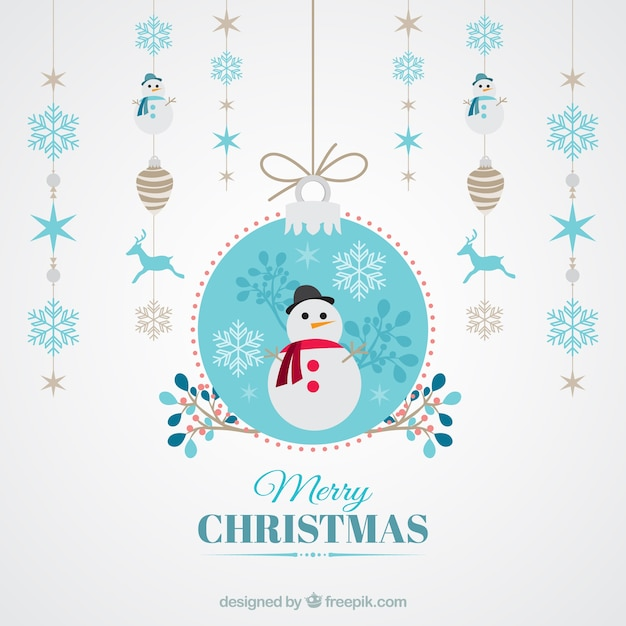 fondo de bolas de navidad y mueco de nieve vector gratis
