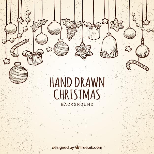 Fondo de bolas navideñas dibujadas a mano Vector Gratis