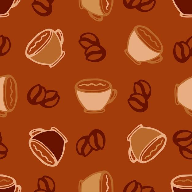 Fondo De Café Caliente Tazas De Patrones Sin Fisuras Para