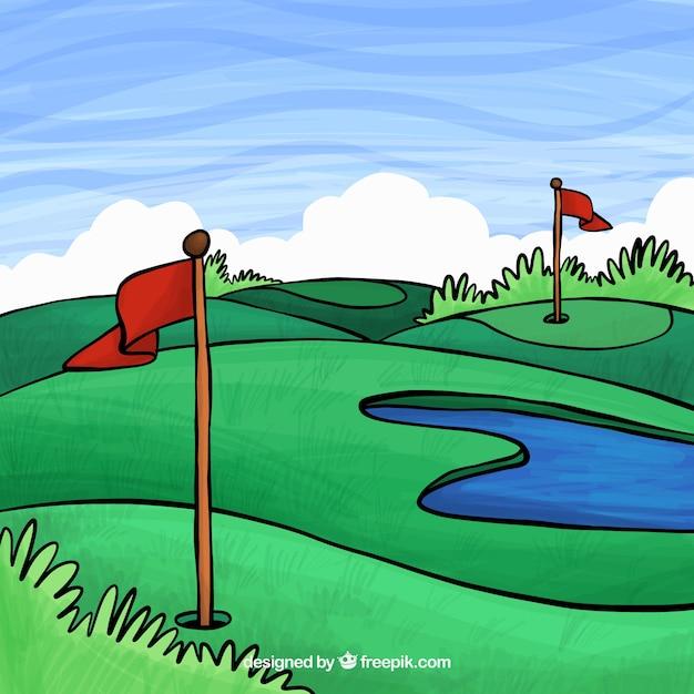Fondo de campo de golf en estilo hecho a mano   Descargar Vectores ...