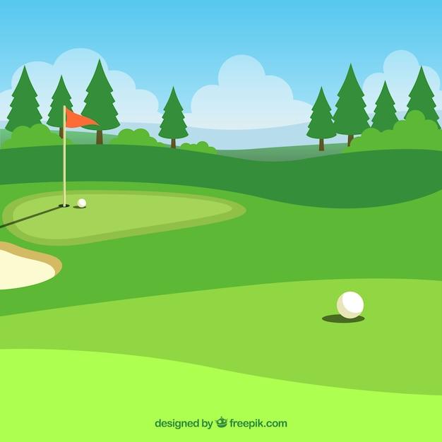 Fondo de campo de golf en estilo plano   Descargar Vectores gratis