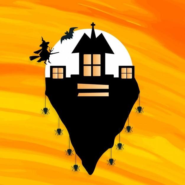 Fondo de casa de bruja en la montaña | Descargar Vectores gratis