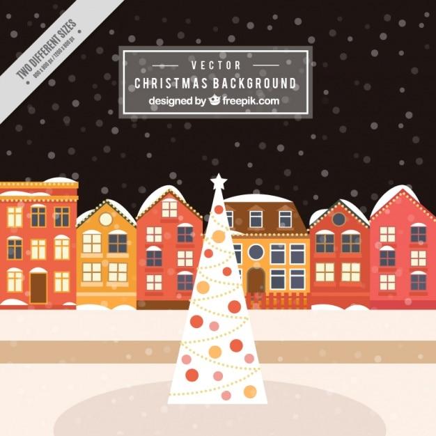 Fondo de casas nevadas con rbol de navidad descargar - Arbol navidad casa ...
