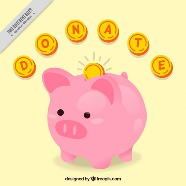 Fondo de cerdito hucha con monedas | Descargar Vectores gratis