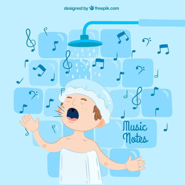 Fondo de chico cantando en la ducha descargar vectores gratis - Canciones para la ducha ...