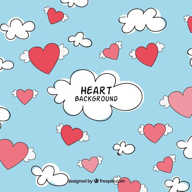 Fondo de cielo con corazones y nubes  Vector Gratis