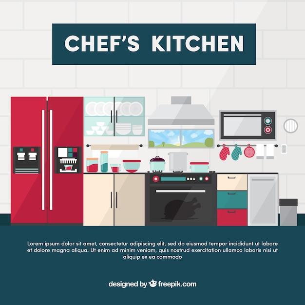 Fondo de cocina moderna en dise o plano descargar for Planos de cocinas gratis