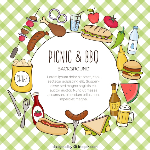 Fondo de comida para picnic y barbacoa dibujada a mano - Comida para llevar de picnic ...