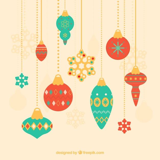 Fondo de decoraci n de navidad con elegantes bolas descargar vectores gratis - Decoracion con bolas de navidad ...