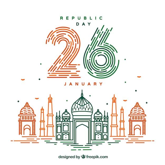 Fondo de día de la república de india | Descargar Vectores gratis