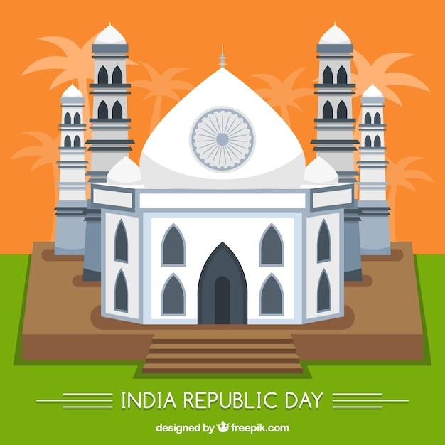 Fondo de día de la república india con taj mahal plano | Descargar ...