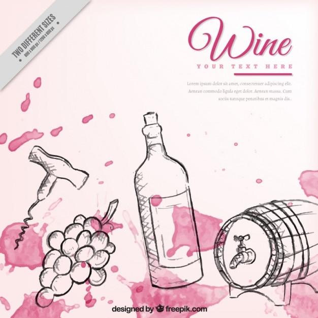 Fondo de elementos de vino dibujados a mano con manchas de - Manchas de vino ...