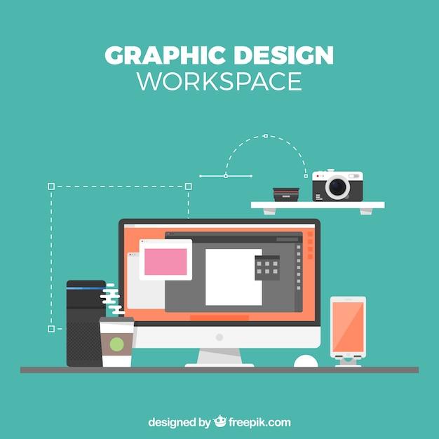 Fondo de espacio de trabajo de diseño gráfico en estilo plano Vector Gratis