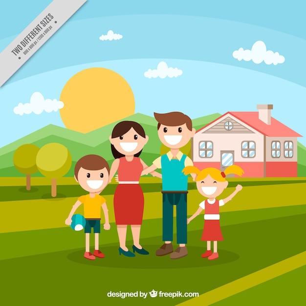 Fondo de familia con una casa en el campo en diseño plano ...