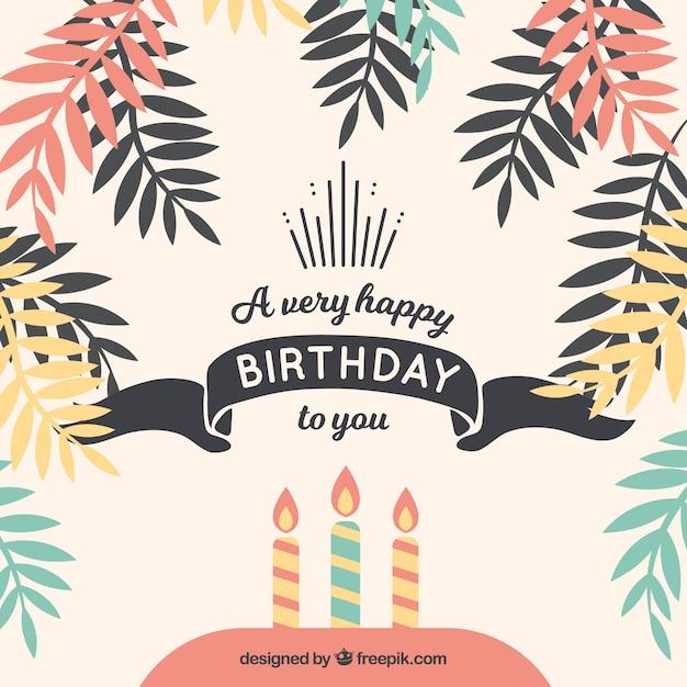 Fondo de feliz cumpleaños con hojas de palmeras | Descargar Vectores ...