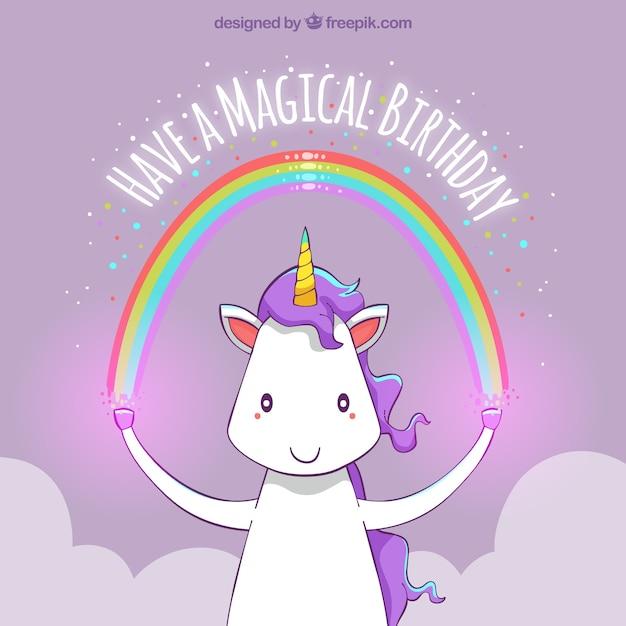 Fondo de feliz cumpleaños de unicornio con un arcoiris  Vector Gratis