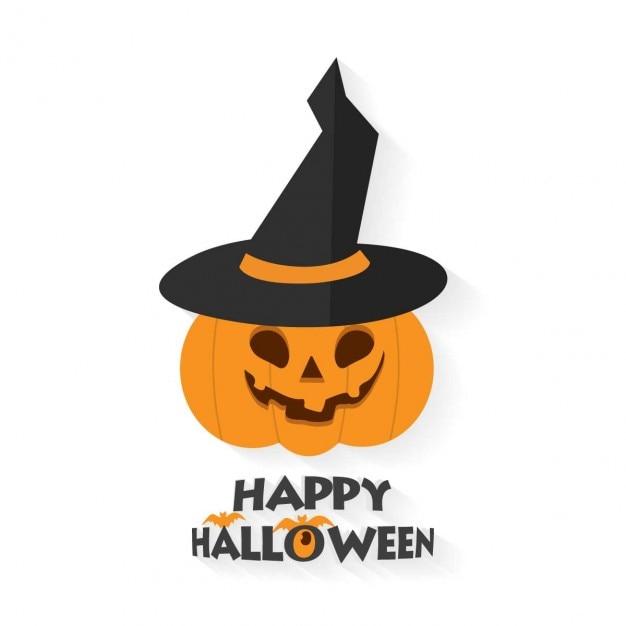 Fondo de feliz halloween con calabaza y sombrero de bruja - Calabazas halloween para imprimir ...