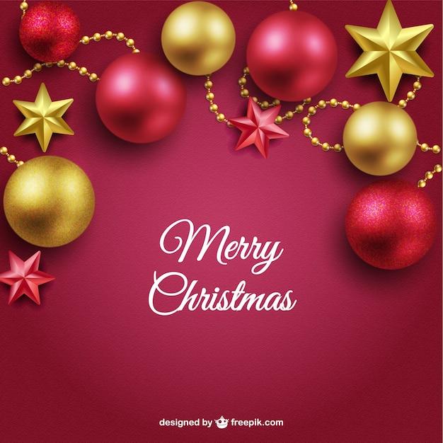 Fondo de feliz navidad con bolas rojas y doradas - Bolas de navidad doradas ...