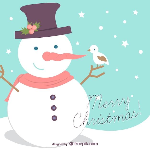 Fondo de Feliz Navidad con muñeco de nieve | Descargar Vectores gratis