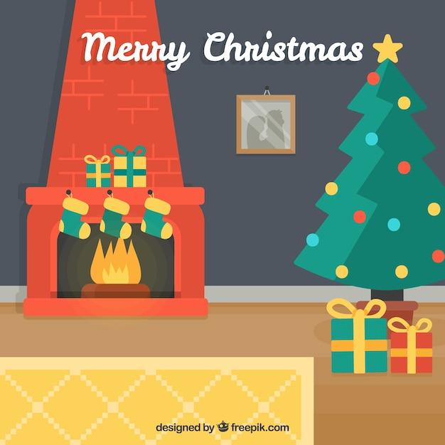 fondo de feliz navidad de casa con chimenea y rbol de navidad vector gratis