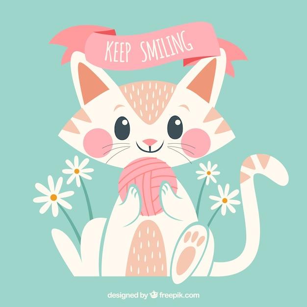 Fondo de gatito adorable con ovillo  Vector Gratis