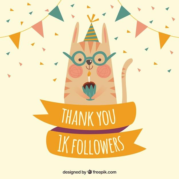 Fondo de gatito con magdalena celebrando los mil seguidores Vector Gratis