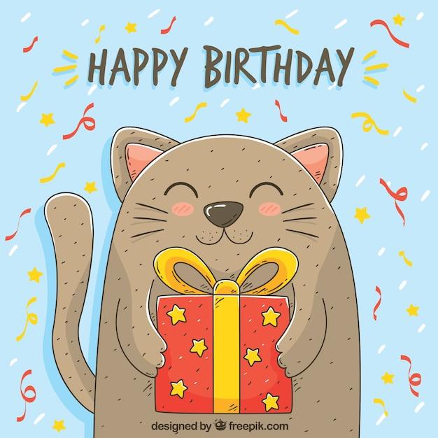 Fondo de gato con regalo de cumpleaños dibujado a mano Vector Gratis