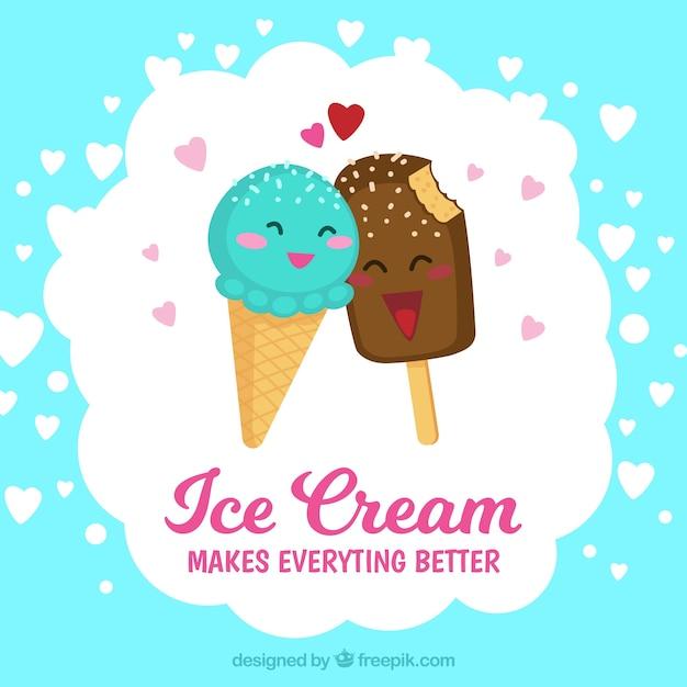 Download Cartoon Ice Cream Wallpaper Gallery: Fondo De Helados Enamorados