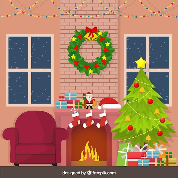 Fondo de hogar con decoraci n navide a descargar for Decoracion navidena hogar