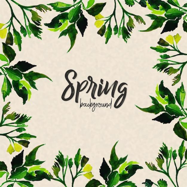Fondo de hojas de acuarela de la primavera   Descargar Vectores Premium