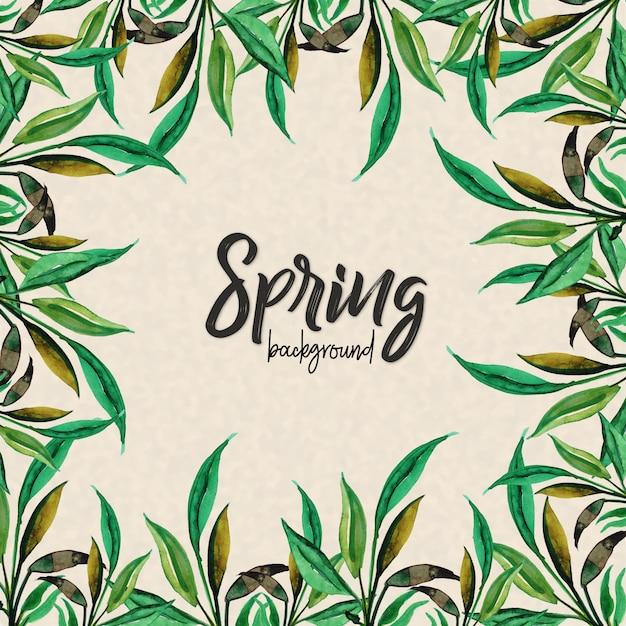 Fondo de hojas de acuarela de la primavera   Descargar Vectores gratis