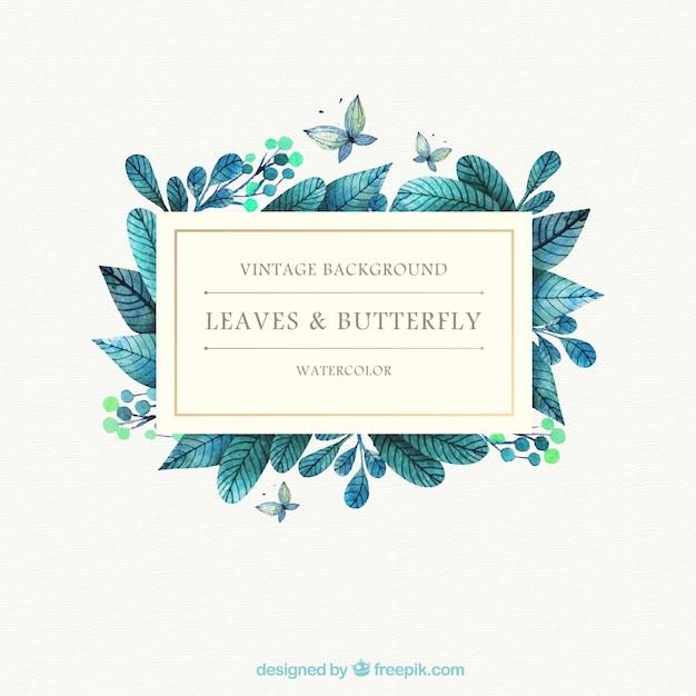 Fondo de hojas de acuarela y mariposa Vector Premium