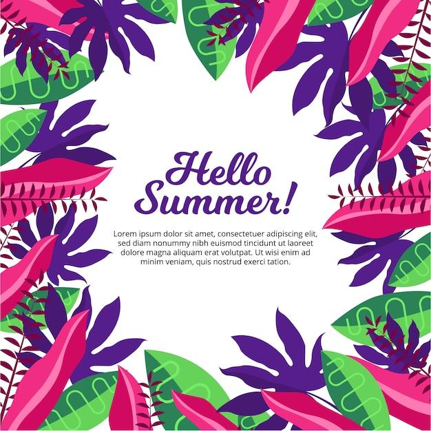 Fondo de hola verano con diseño de hojas tropicales | Descargar ...
