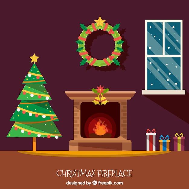 Fondo de interior de casa navideña con chimenea  Descargar Vectores