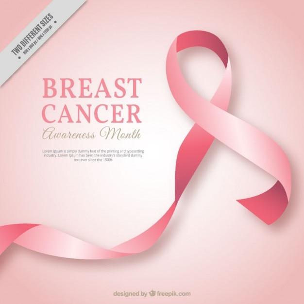 Fondo de lazo rosa del cancer de mama  Vector Gratis