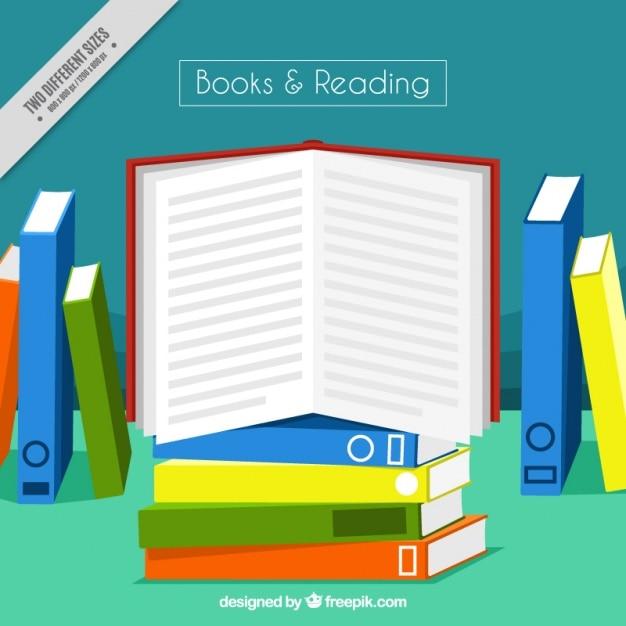 Fondo de libro abierto con libros de colores | Descargar Vectores gratis