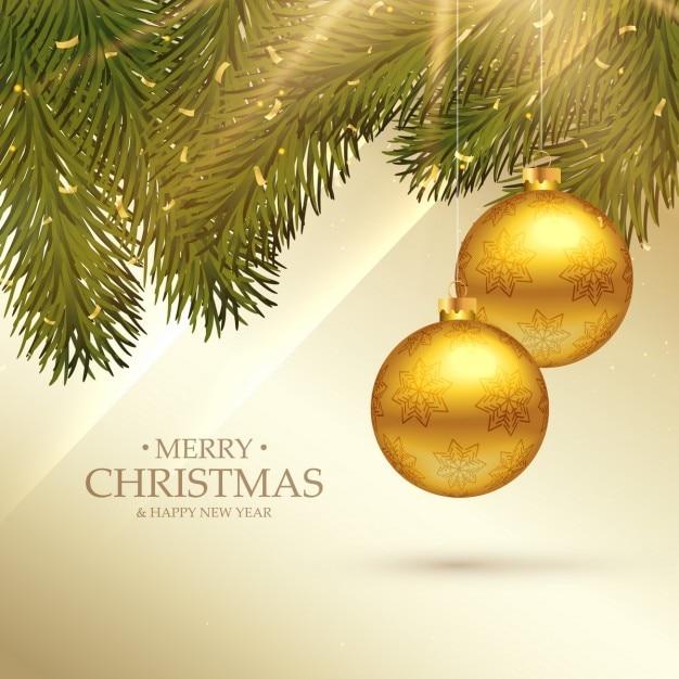 Fondo de lujo con ramas de pino y bolas de navidad doradas - Bolas de navidad doradas ...