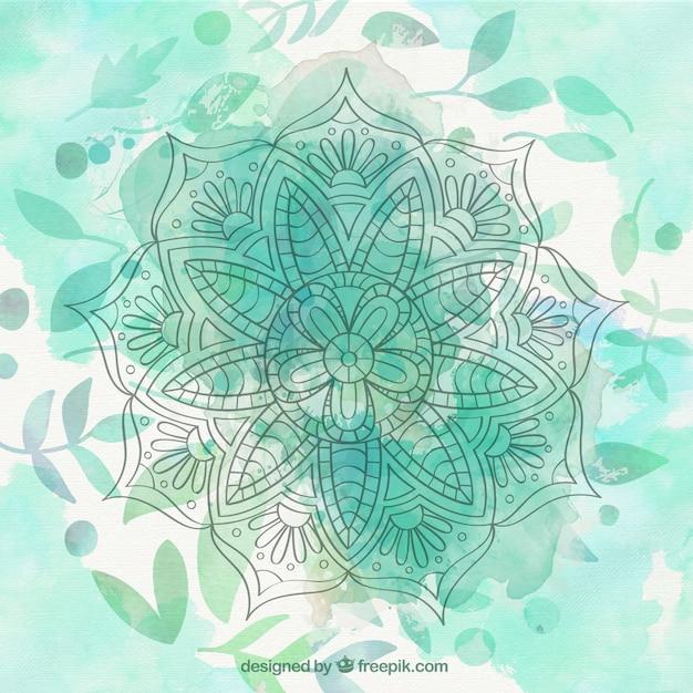 Fondo De Mandala De Acuarela Verde Con Hojas