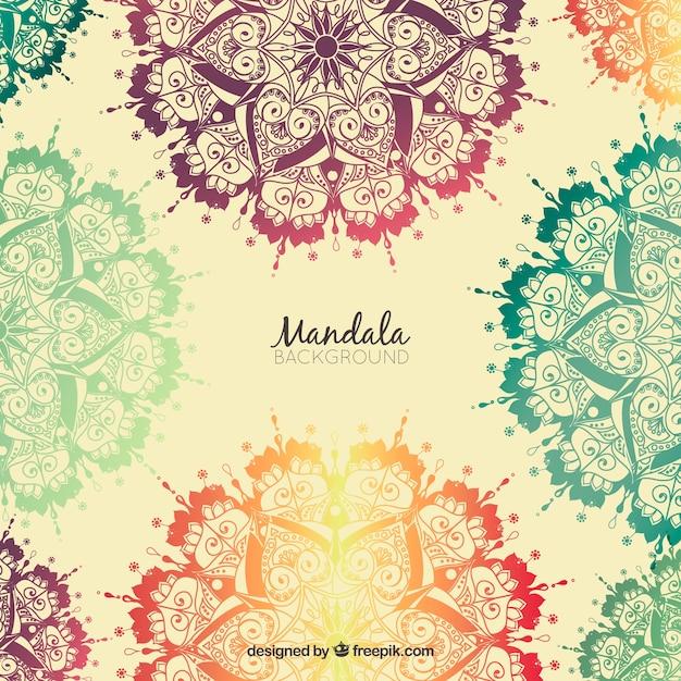 Fondo de mandalas de colores dibujados a mano descargar - Colores para mandalas ...