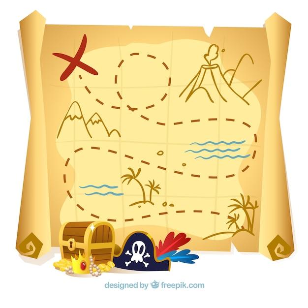 Fondo de mapa del tesoro y elementos de piratas  Vector Gratis