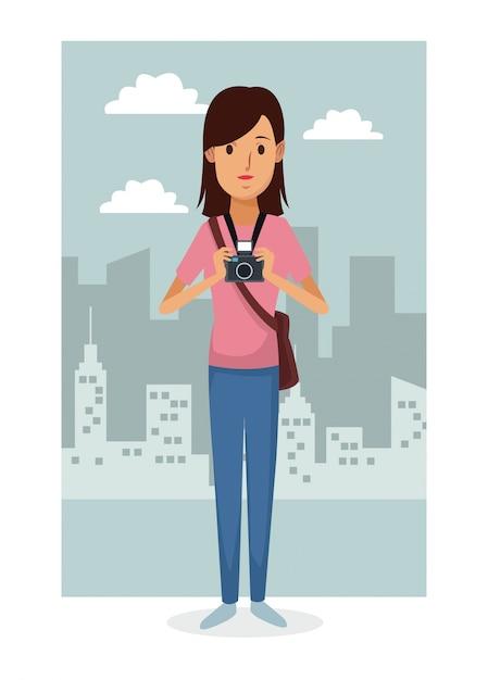 Fondo de marco de paisaje de ciudad con fotografía de mujer de ...