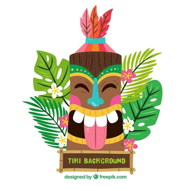 Fondo de m scara tiki feliz en dise o plano descargar for Tiki hawaiano