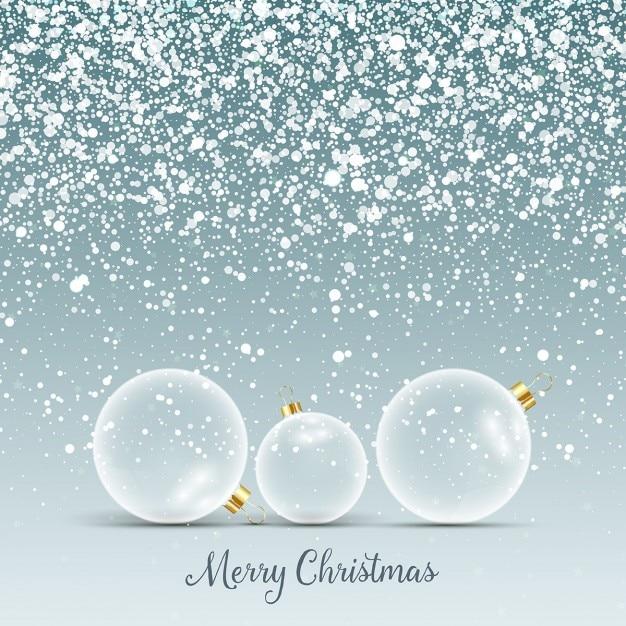 Fondo de navidad con bolas de cristal en la nieve for Bolas de cristal decorativas