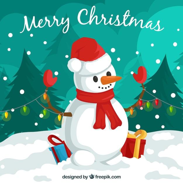 Fondo de navidad con muñeco de nieve adorable Descargar