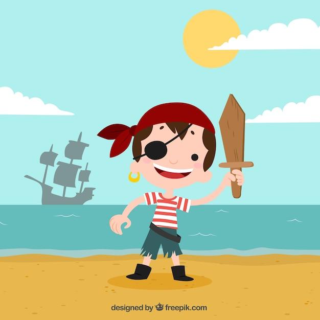 Fondo de niño pirata en la playa  Vector Gratis
