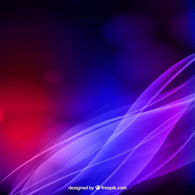 Fondo de olas abstractas con luces de colores Vector Gratis