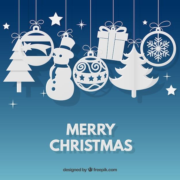Fondo de ornamentos navideños  Vector Gratis